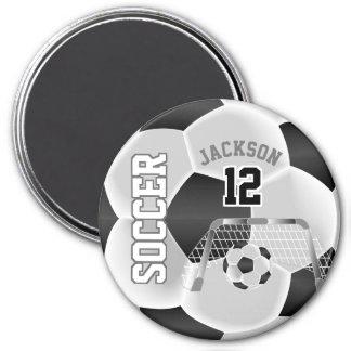 Imã Preto e branco personalize a bola de futebol