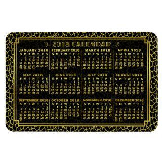 Ímã Preto mensal do ouro do art deco do calendário de