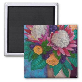 Imã Proteas gigantes e rosas alaranjados