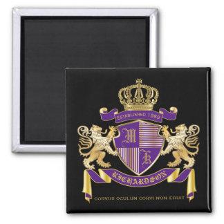 Imã Protetor dourado do leão do emblema do monograma
