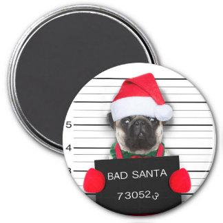 Imã Pug do Natal - cão do mugshot - pug do papai noel