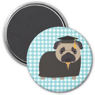 Imã Pug graduado no design azul e branco do guingão