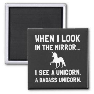 Imã Quando eu me olho no espelho veja um unicórnio