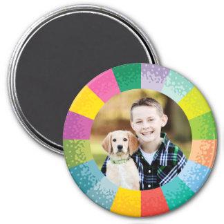 Ímã redondo brilhante da foto da roda de cor ímã redondo 7.62cm