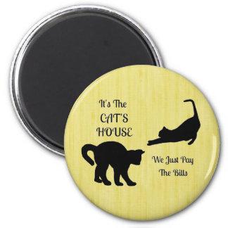 Ímã redondo da casa engraçada do gato ímã redondo 5.08cm