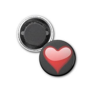 Ímã redondo do coração vermelho imã