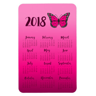 Ímã Refrigerador cor-de-rosa do calendário da