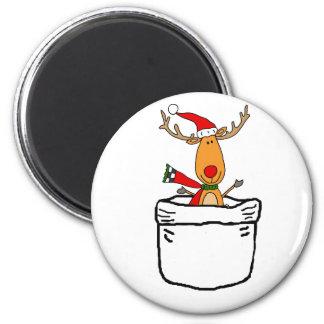 Imã Rena engraçada em uns desenhos animados do Natal