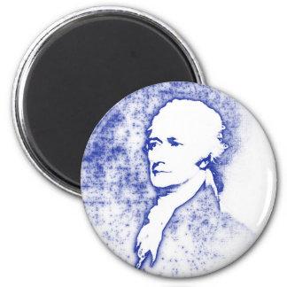 Imã Retrato Alexander Hamilton do pop art no azul