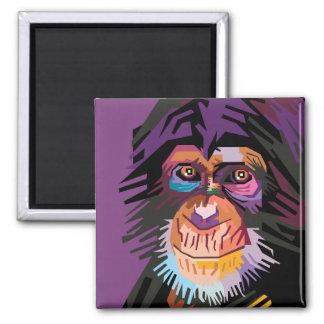 Imã Retrato colorido do macaco do pop art