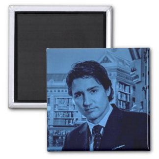 Imã Retrato de Justin Trudeau no azul