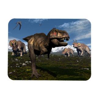 Ímã Rex do tiranossauro atacado pelo dinossauro do
