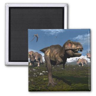 Imã Rex do tiranossauro atacado pelo dinossauro do