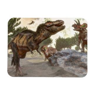 Ímã Rex do tiranossauro que escapa do ataque do