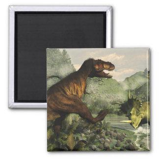 Imã Rex do tiranossauro que luta contra o