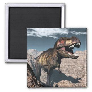 Imã Rex do tiranossauro que ruje em uma garganta