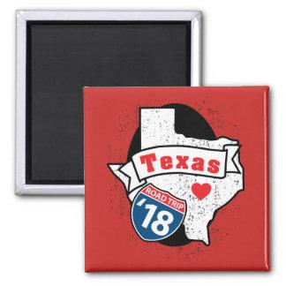 Imã Roadtrip '18 Texas - ímã quadrado (vermelho)
