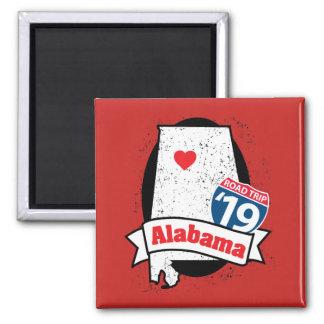 Imã Roadtrip '19 Alabama - ímã quadrado (vermelho)