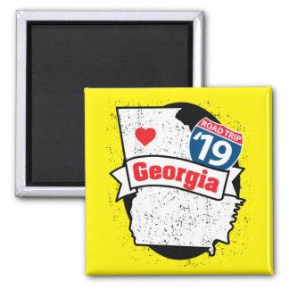 Imã Roadtrip '19 Geórgia - ímã do quadrado (yellow/bk)
