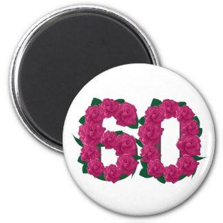 Imã Rosa de rosas do aniversário do número 60 60th