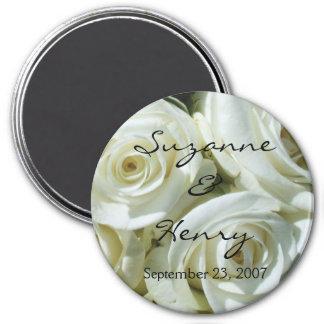 Imã Rosas brancos personalizados que Wedding