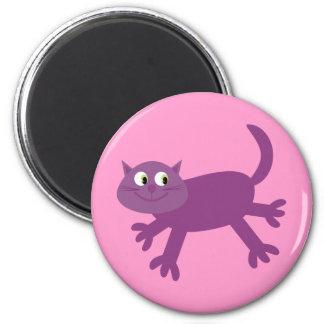 Ímã running roxo engraçado do rosa do gato dos des ima