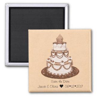 Imã Salvar o ímã do bolo de casamento da data