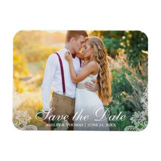Ímã Salvar o laço da foto do casal do noivado da data