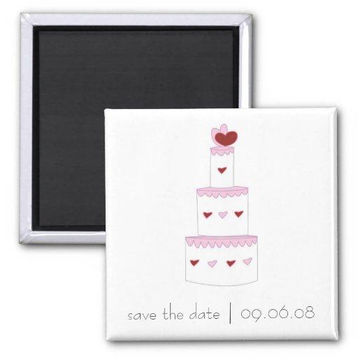 Imã salve a data com design do bolo de casamento