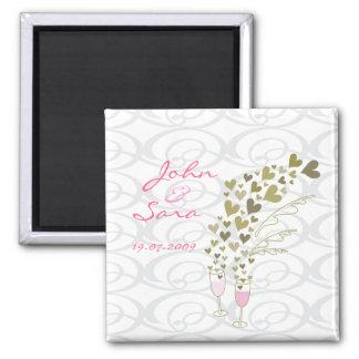 Imã salve a data Wedding cor-de-rosa dos elogios