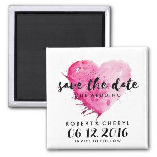 Imã salve o dia do coração da aguarela do rosa