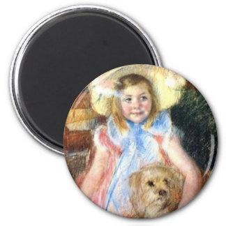 Imã Sara com seu ímã do cão de estimação