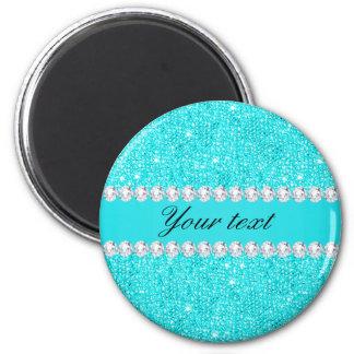 Imã Sequins e diamantes personalizados de turquesa