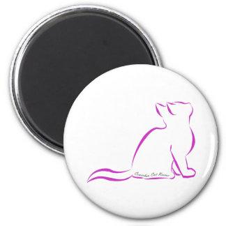 Imã Silhueta cor-de-rosa do gato, texto interno
