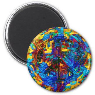 Imã Símbolo de paz colorido do mosaico