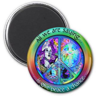 Imã Símbolo de paz retro do arco-íris do Hippie do