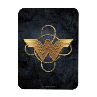 Ímã Símbolo do ouro da mulher maravilha sobre o laço