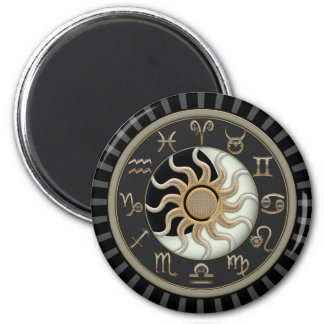 Imã Símbolos da astrologia de Sun e de lua