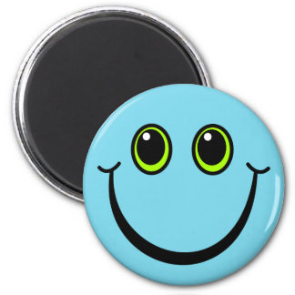 Imã Smiley face azul feliz