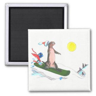 Imã Snowboarder bonito da lontra do Natal lunático