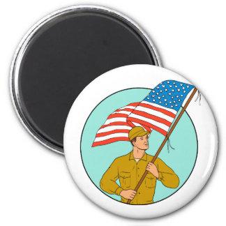 Imã Soldado americano que acena o desenho do círculo