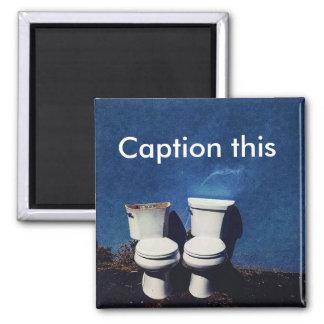 """Imã """"Subtitule este"""" par de ímã quadrado dos toaletes"""