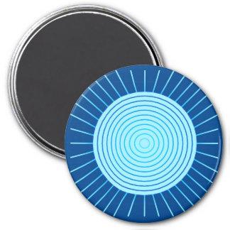 Imã Sunburst geométrico moderno - azuis cobaltos e