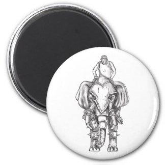 Imã Tatuagem do cavaleiro do Mahout do elefante da