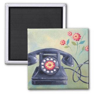 Imã Telefone do vintage & ímã das flores