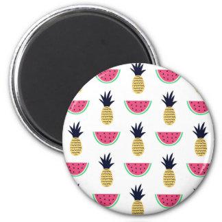 Imã Teste padrão bonito do Doodle do abacaxi & da