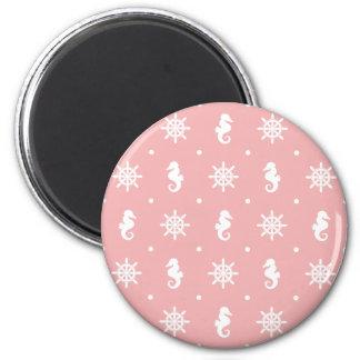 Imã Teste padrão coral cor-de-rosa náutico