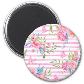 Imã Teste padrão floral cor-de-rosa da aguarela com