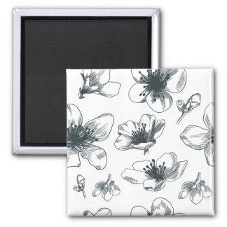Imã Teste padrão floral preto & branco