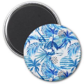 Imã Teste padrão tropical azul brilhante da aguarela
